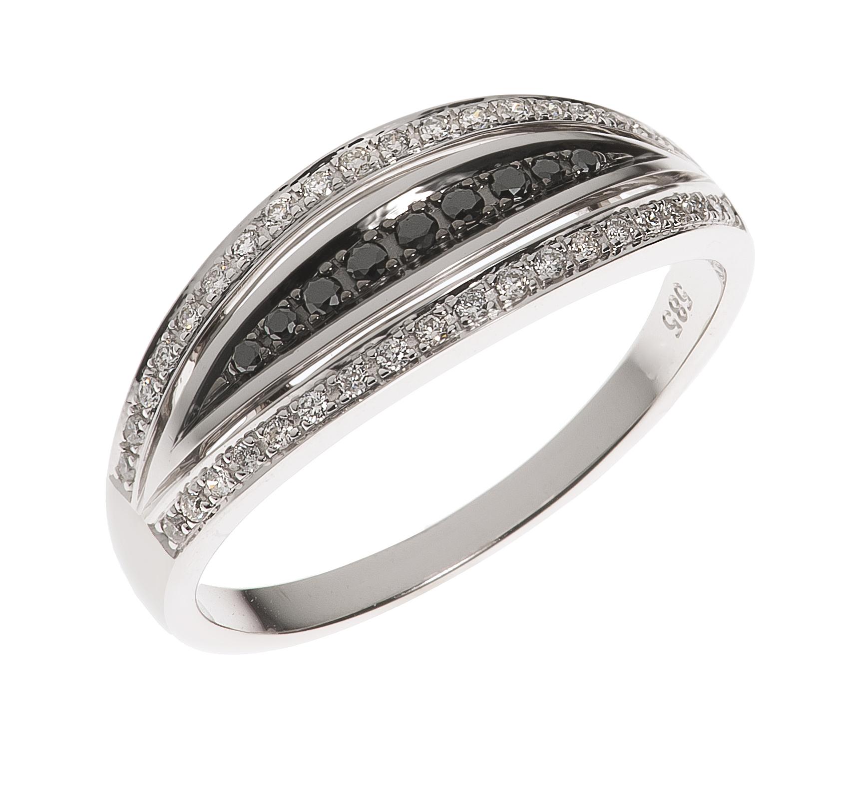 2e521ea8 Hvittgull ring med sorte og hvite diamanter - H. Gams-Haugsøen